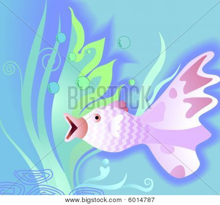Illustration of fish swimming on floral background poster