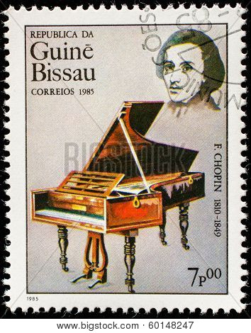 GUINEA CIRCA 1985: A stamp printed by Guinea, shows musician and composer Frederic Chopin, circa 1985