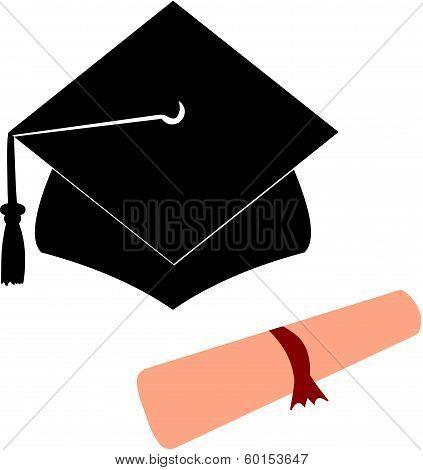 University Graduation Hat and Diploma