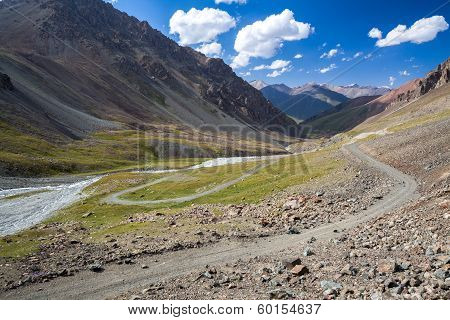 Wonderful mountain road in Kyrgyzstan