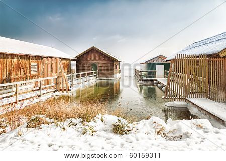 An image of the Starnberg Lake in winter in Bavaria Germany - Tutzing