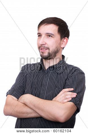 Portrait Of An Handsome Young Man Isolated On White Background
