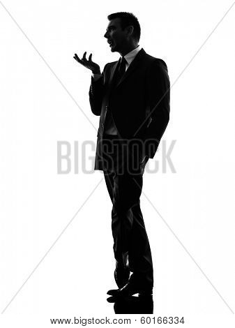 one caucasian effeminate snobbish business man in silhouette  on white background