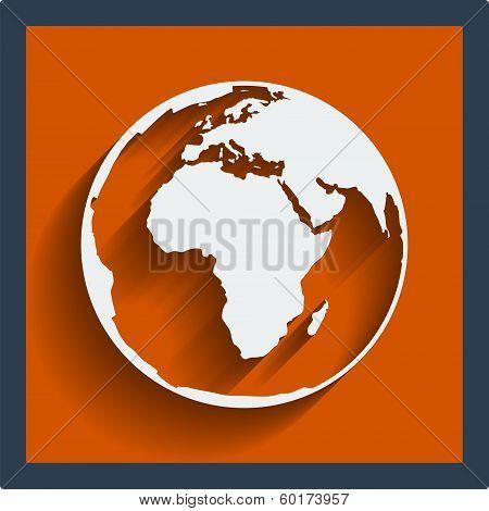 Earth planet globe icon. Vector.