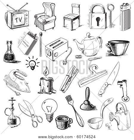Household home objects collection