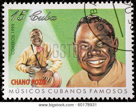 CUBA - CIRCA 1999: A stamp printed in cuba dedicated to famous Cuban musicians, shows Chano Pozo, circa 1999