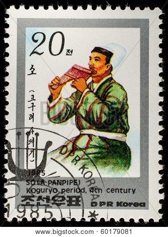 DPR KOREA - CIRCA 1985: A stamp printed in DPR KOREA shows A panpipe 4th centur, circa 1985