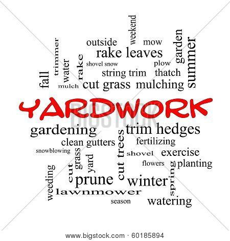 Yardwork Word Cloud Concept In Red Caps