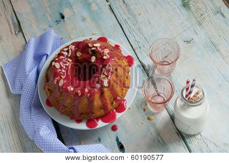 Vanilla Bundt Cake Dessert Topped With Raspberry Glaze Blueberry Raspberry Blackberry