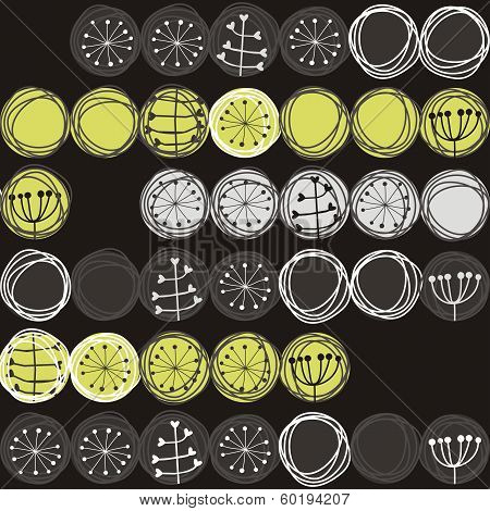 delicate plants in circles on dark background retro botanical seamless pattern poster