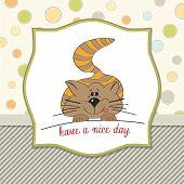 cute kitty wishes you a nice day poster
