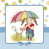 young pretty girl and her cat friendship card in vector format poster