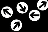 Abstract direction signs showing different ways over black poster