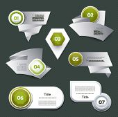 Set of green vector progress version step icons. eps 10 poster