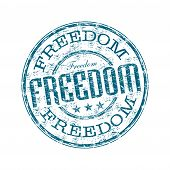 Blue grunge rubber stamp with the word freedom written inside the stamp poster