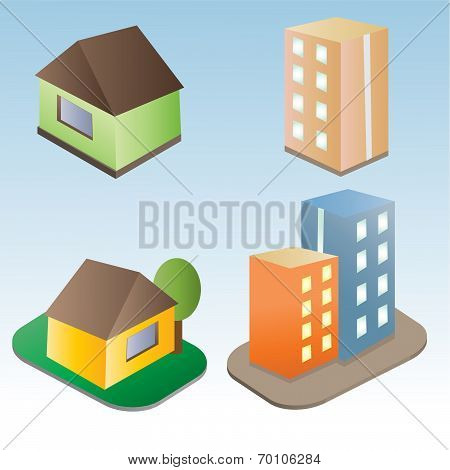Set of vector buildings
