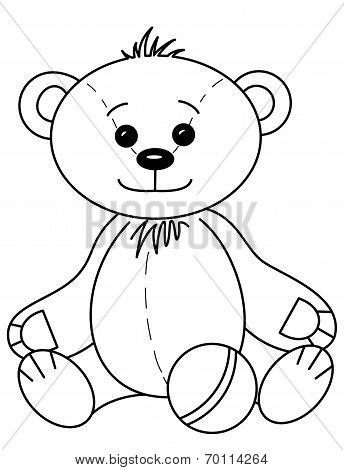 Teddy bear with ball, contours