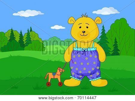 Teddy bear with toy horsy on glade