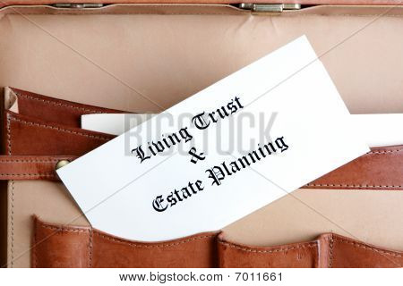 Estate planning documents in a briefcase ready for the client's review poster