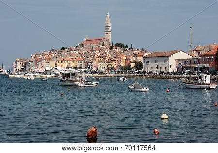 Rovinj Old Town In Croatia, Adriatic Coast, Istra Region