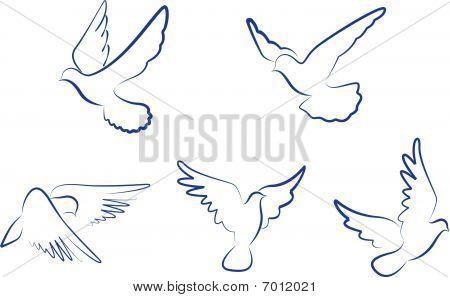 Set of doves