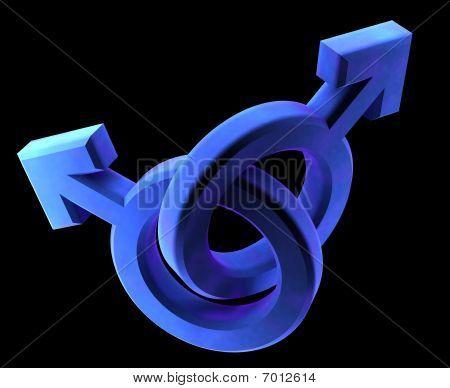 Gay Man To Man Blue Symbols
