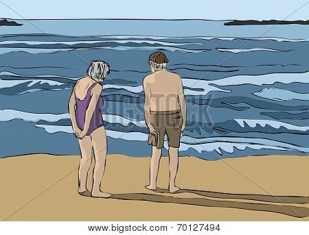 Elderly couple looking at the horizon