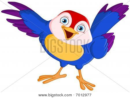 Friendly colorful bird pointing with its wing poster