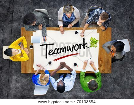 People in a Meeting and Teamwork Concepts
