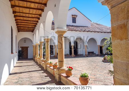 Courtyard of the House of Independence where Bolivian independence happened poster