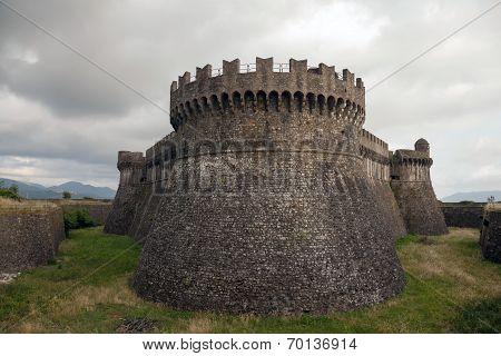 Fortress on the hill of Sarzanello was built by the condottiero Castruccio Castracani. poster