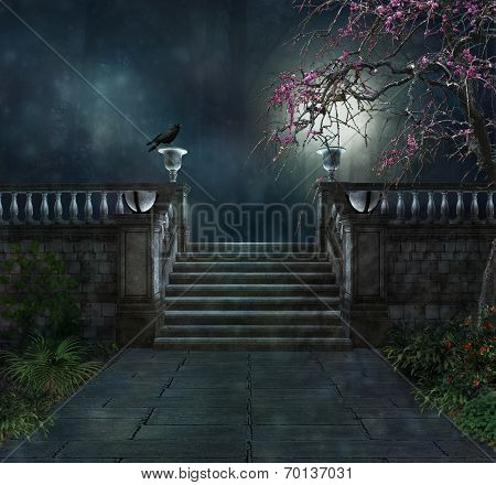 View of a mysterious park at night with a crow poster