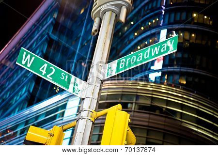 Broadway street sign in New York's Times Square