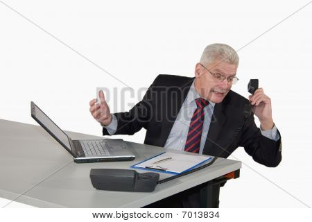 caucasian senior manager heavily discussing on the phone