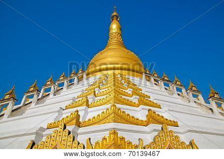 Maharzayde pagoda on blue sky background. Bago. Myanmar. poster