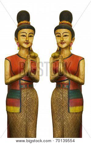 2 Thais Wood Sculpture Girl