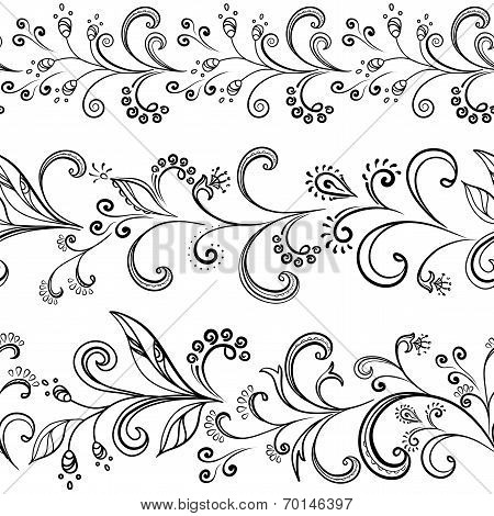 Seamless floral pattern, black symbolical contour flowers on white background. Vector poster