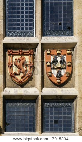 Window With Coat Of Arms In Jesus College Cambridge