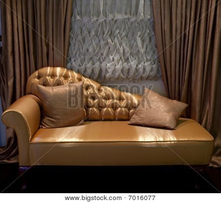 Luxurious Sofa And Window Curtains