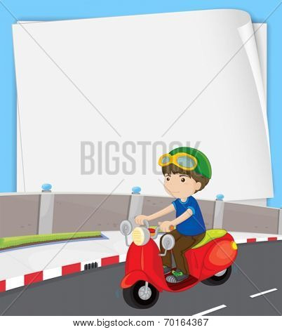 Illustration of a banner with a boy on motorbike