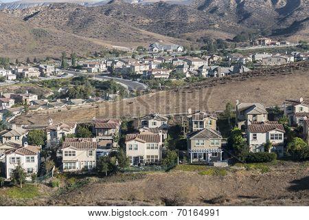 California hillside suburbia near Los Angeles in Ventura County's Simi Valley.