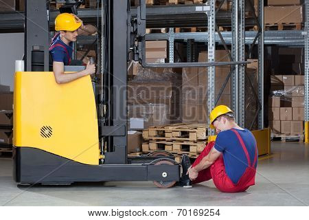 Forklift Accident In Storehouse
