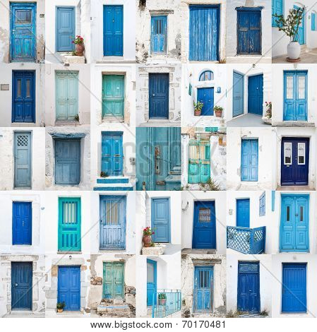 Collage Of Different Blue Old Wooden Doors From Greek Islands - Traveling Around The Cyclades.
