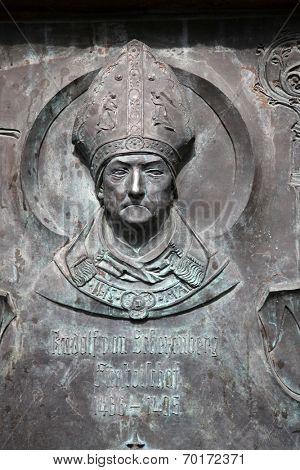 GEMUNDEN, GERMANY - 18 JULY: Monument of Rudolf II von Scherenberg, the Bishop of Wurzburg in Gemunden, Bavaria, Germany, on July 18, 2013