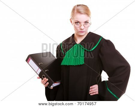 Young Female Lawyer Attorney Wearing Classic Polish Black Green Gown