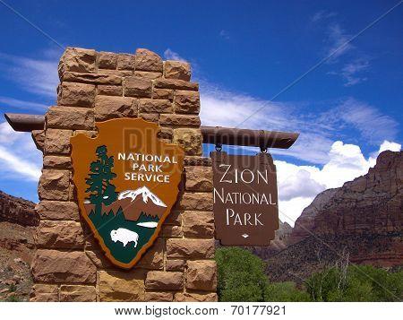 Zion National Park Entrance Sign