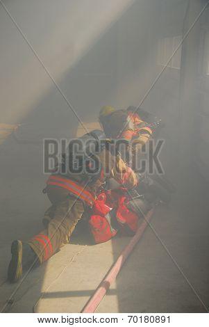 Firefigher And Smoke