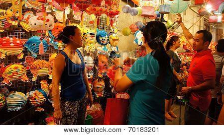 Ho Chi Minh Lantern Street At Night