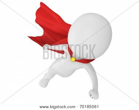 Man brave superhero with red cloak flying forward. Isolated on white 3d render. poster