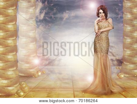 Fantasy. Glam. Enticing Lady In Stylish Dress Over Abstract Background